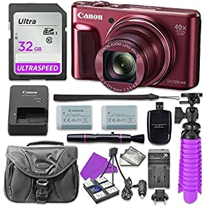 Canon PowerShot SX720 (Red) HS Digital Camera with 32GB SD Memory Card + Accessory Bundle