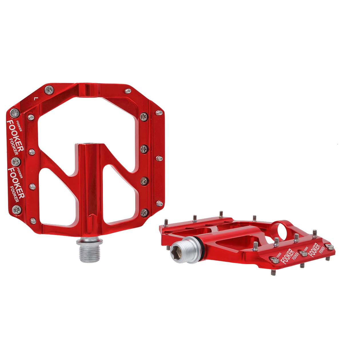FOOKER Bike Pedals Non-Slip Aluminum Alloy MTB Mountain Bike Pedals 3 Bearing 9/16'' for Road BMX MTB Fixie Bikes by FOOKER (Image #2)