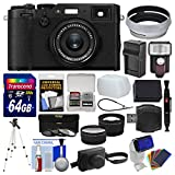 Fujifilm X100F Wi-Fi Digital Camera (Black) with Leather Case + 64GB Card + Flash/Video Light + Battery & Charger + Tripod + Tele/Wide Lens Kit