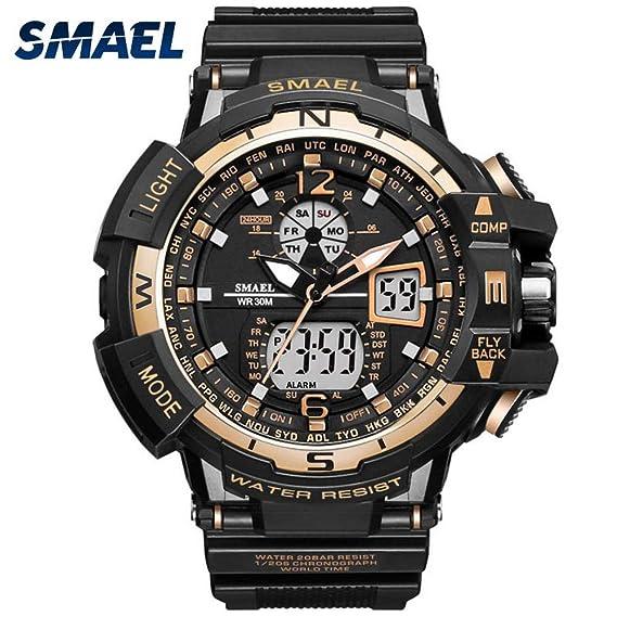 Amazon.com: Mens Sports Analog Quartz Watch Dual Display Waterproof Digital Watches LED Backlight relogio Masculino El Movimiento de Los relojes: Sports & ...