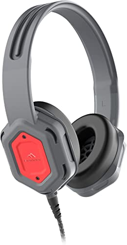 Brenthaven Edge Rugged Over Ear Headphone with Durable Ear Pads, Twistable, Durable Headband for K-12 Students, Teachers and Kids Gray Red, Chew Proof Cord
