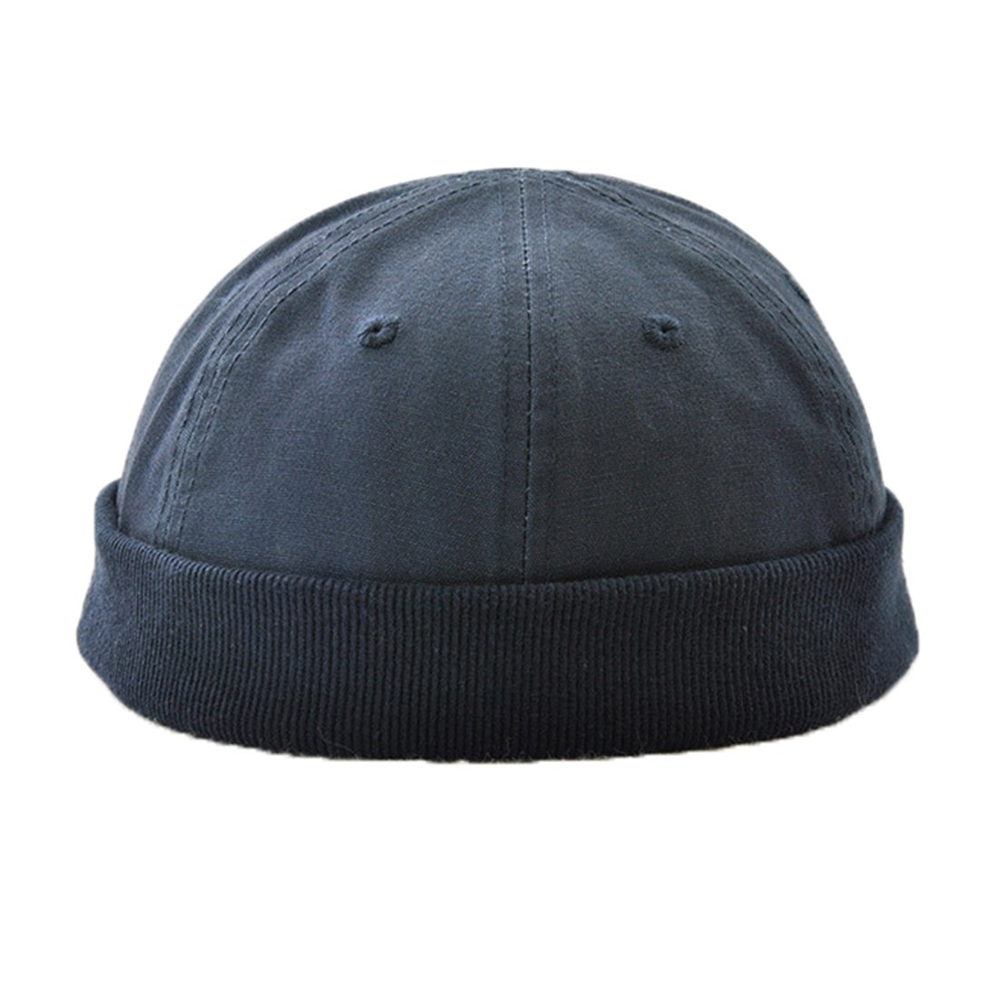 Ez-sofei Men's Retro Chinese Style Solid Color Rolled Cuff Skull Caps Brimless Beanie Hat (B-Dark Blue)