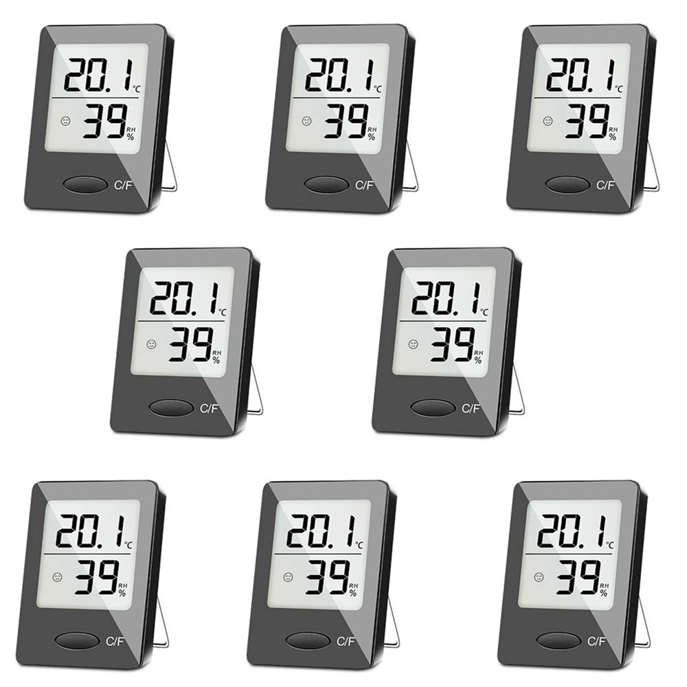 SXCD 8 Pack Digital Hygrometer Indoor Thermometer, Humidity Gauge Indicator Room Thermometer, Accurate Temperature Humidity Monitor Meter for Home, Office, Greenhouse, Mini Hygrometer
