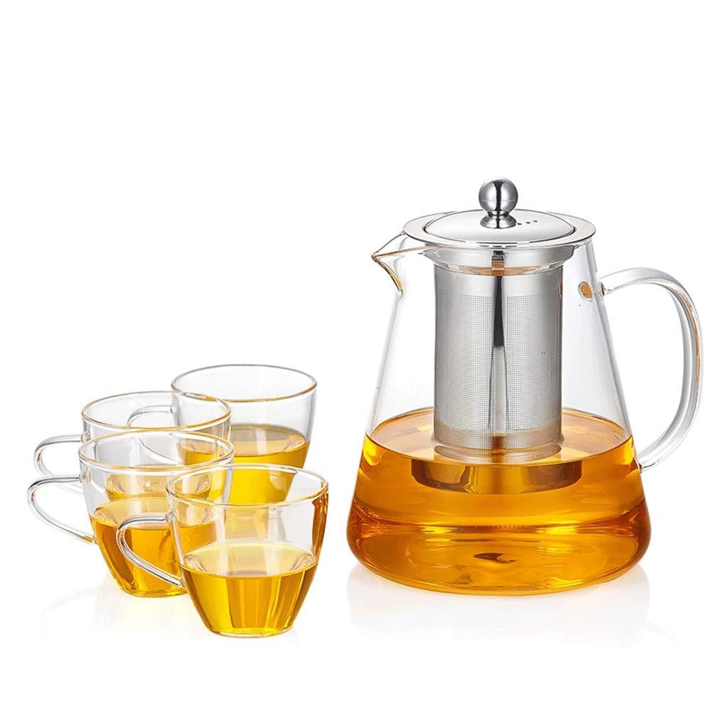 LQX ガラスティーセット優雅なカップ家庭用ティーポット増粘耐熱ティーポットはフィルターオフィスティーセレモニーカップ付きティートレイ (容量 : D, 色 : 2) B07RWYGRH9 2 D