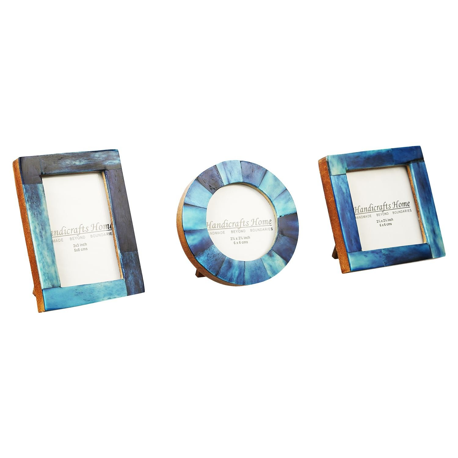 Baby Photo Frame Pure Bone Mother of Pearl Handicrafts Home Handmade Natural Picture Frames Set of 3 Pieces (Blue)