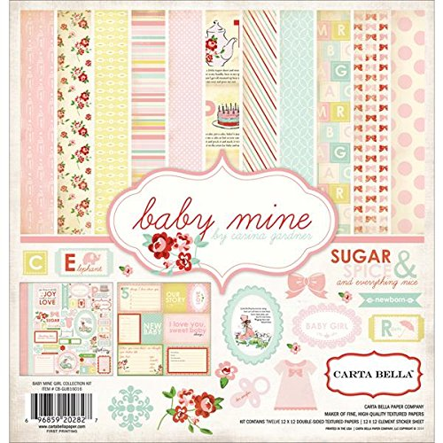 12x12 Paper Girl (Carta Bella Paper Company CB-BMG26016 Baby Mine Girl Collection Scrapbooking Kit)