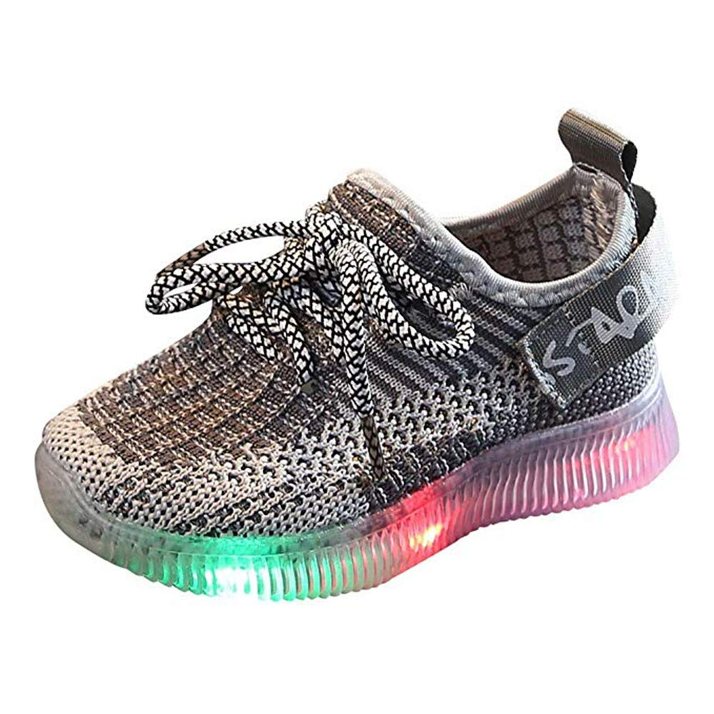 Toddler Baby Boys Girls Soft Knit Sneakers, LED Light Up Flashing Shoes Comfortable Footwear for Toddler/Little Kid Gray by KINGLEN Baby shoes