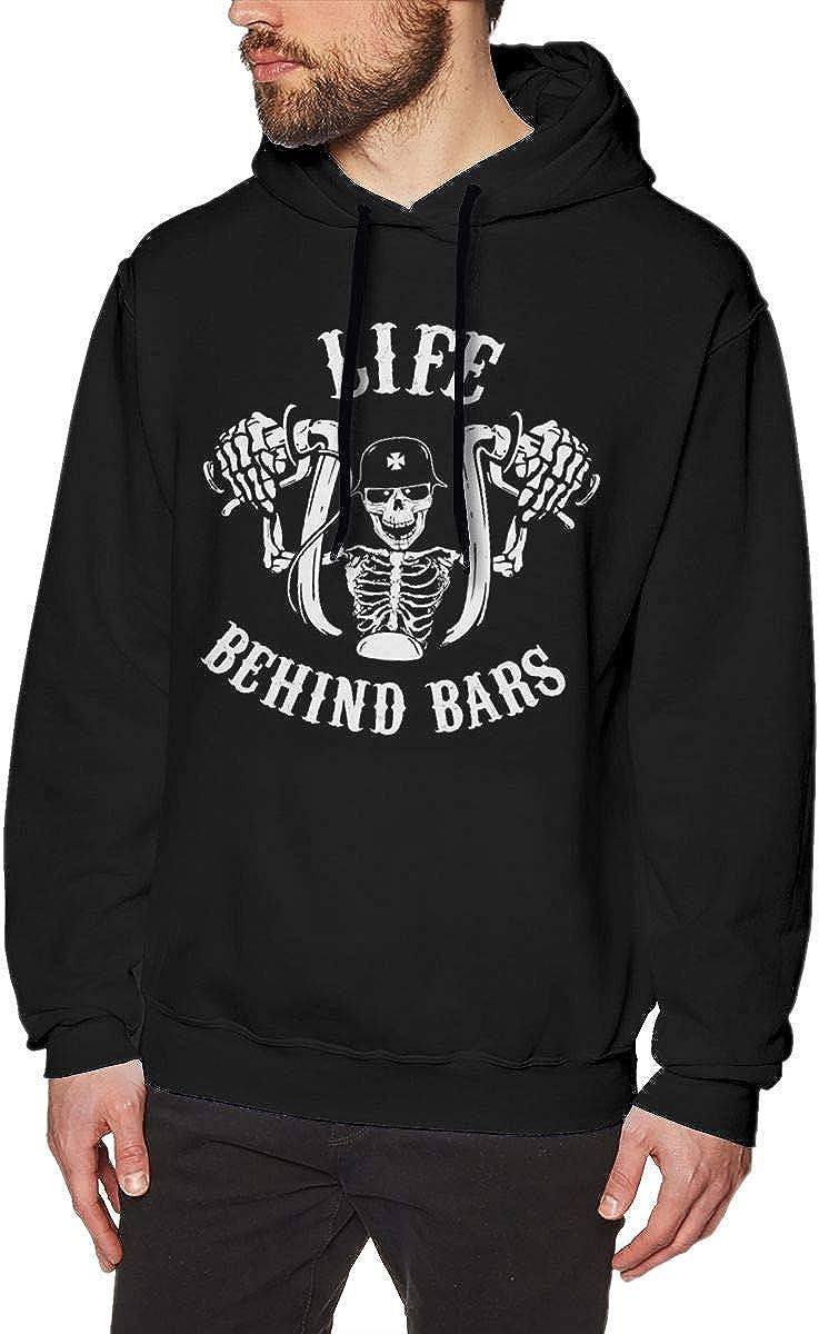 Marsherun Mens Life Behind Bars Pullover Fleece Hoodie Sportswear