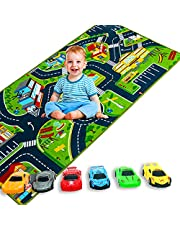 Kids Play Mat Playroom Rug with 6 Car, 3D City Engineering Road Rug for Kids - Portable Anti-Slip Large Play Rug for Toddlers Children Educational Road Traffic PlayMat for PlayRoom Game(150x80cm)