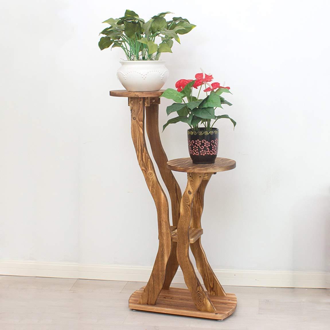 LRW Multi Floor Flower Rack, Solid Wood Floor Balcony, Living Room Indoor Flower Rack, Carbonization