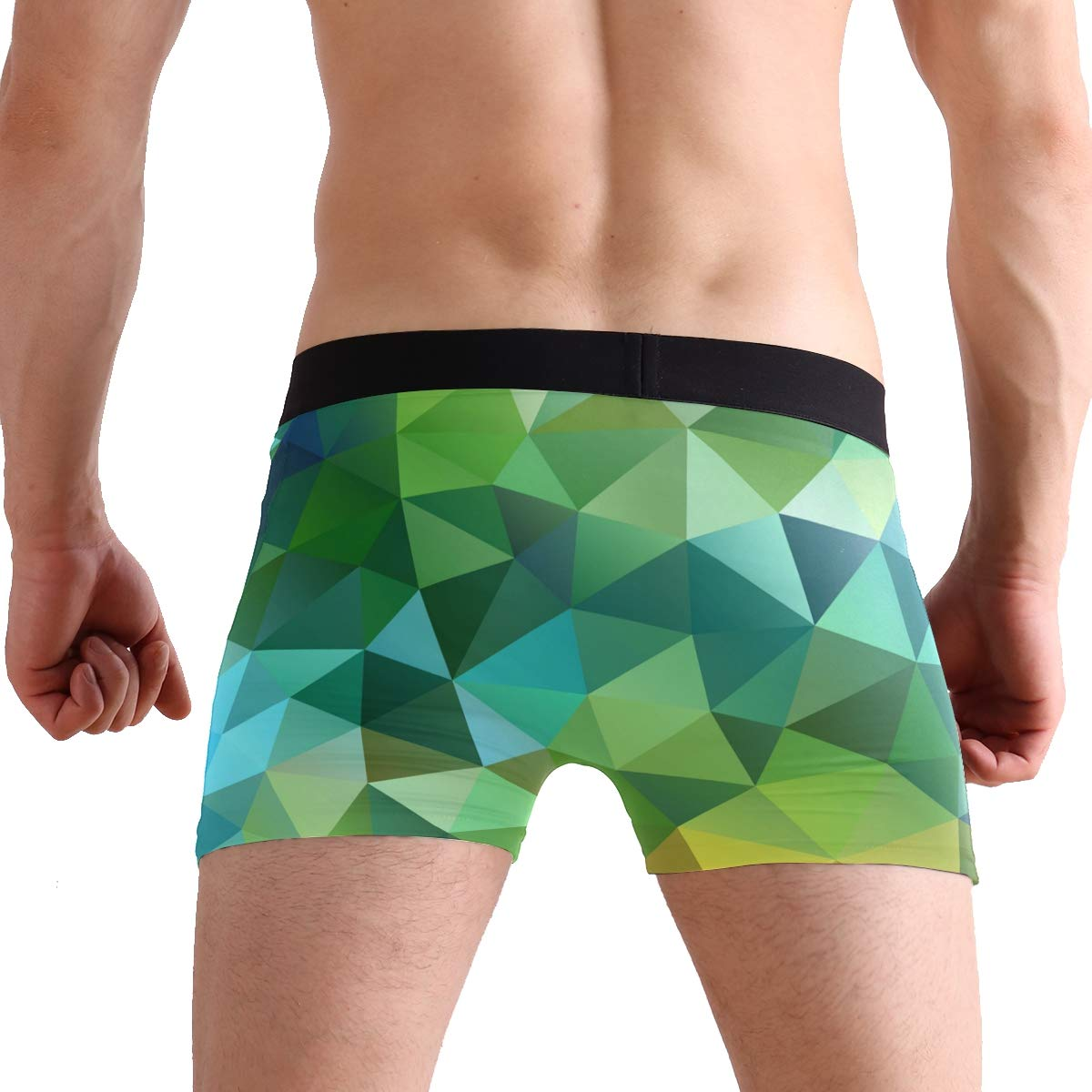 FAJRO Geometry Triangle Gradient Ramp Mens Regular Leg Boxer Brief Underwear