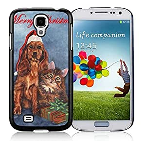 2014 New Style Samsung S4 TPU Protective Skin Cover Christmas Dog and Cat Black Samsung Galaxy S4 i9500 Case 3