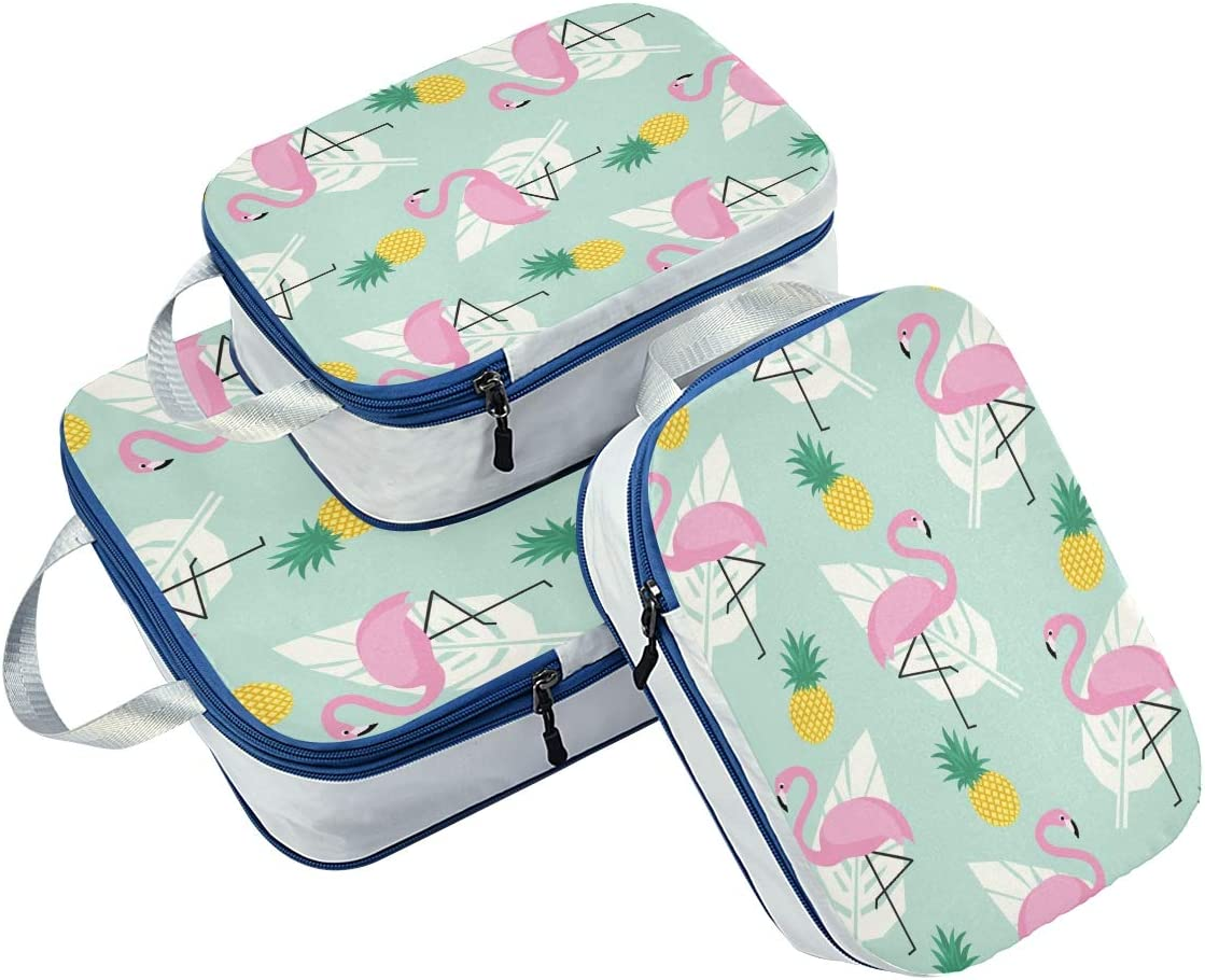 Flamingo With Leave 3 Set Packing Cubes,2 Various Sizes Travel Luggage Packing Organizers h