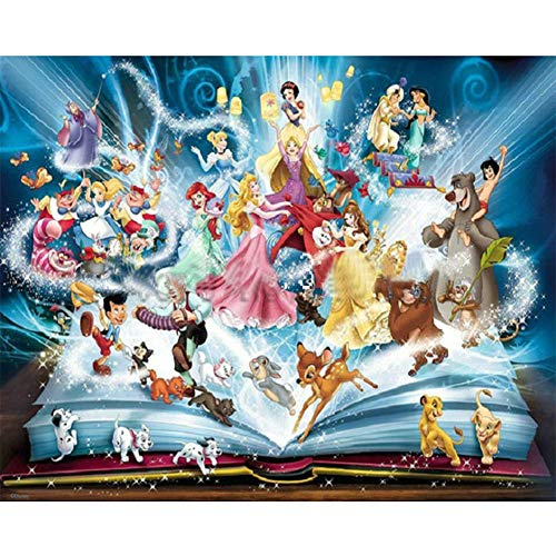 DIY 5D Diamond Painting Paint by Numbers Kits for Adult,Full Drill Diamond Embroidery Dotz Kit Crystal Rhinestone Embroidery Cross Stitch Arts Craft Supply Canvas Wall Decor(Disney Princess3,16X12)