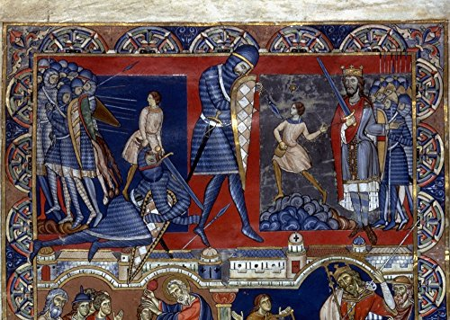 - Posterazzi Poster Print Collection David and Goliath./Nillumination from a Late 12Th Century English Bible, (24 x 36), Multicolored