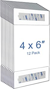 Niubee 4 x 6 inch Wall Mount Acrylic Sign Holder with 3M Tape Adhesive for Office, Home, Store, Restaurant, No Drilling - Vertical (12 Pack)