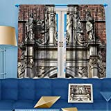 VROSELV Blackout Room Darkening Curtains copenhagen town architectural feature church of the holy Window Panel Drapes Grommet Top 55'' W x 39'' L