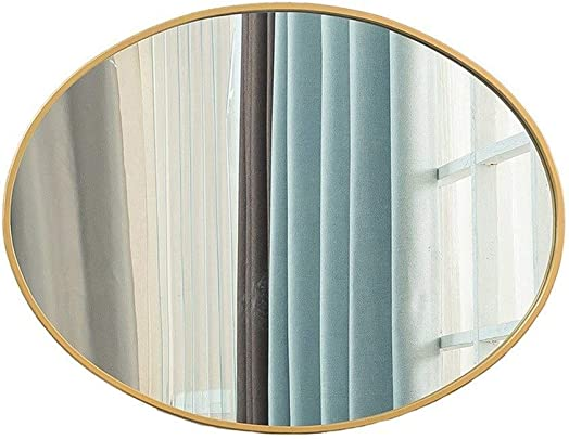 Beauty Mirror HD Oval Wall Mounted Mirror,Durable The Sink Hanging Mirror Creative Makeup Shaving Iron Mirrors Suit for Bathroom Bedroom Dressing Mirror Color Gold, Size 60cmx80cm