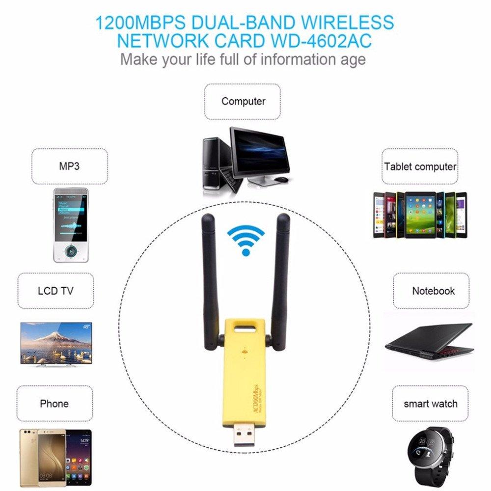 KuWFi 1200Mbps Adattatore WiFi Senza Fili USB WiFi A Doppia Banda USB Da 5Ghz 2.4Ghz Mini WiFi WiFi 802.11ac RTL8812AU Chipset Aerial Dongle
