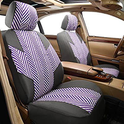 CAR PASS HOMESTYLE Linen Universal Fit Car Seat Covers with Opening Holes,Universal fit for Suvs,Cars,Trucks,Sedans,Vans,Airbag Compatible(Black with Purple): Automotive