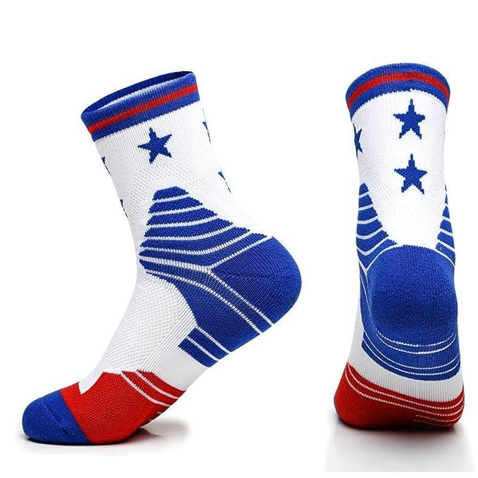 SKNSM 3 pares de hombres estrellas patrón fútbol baloncesto calcetines calcetines elásticos transpirables (Color :