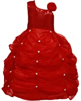 Rainbow Sequence Baby Girl's Party Wear Gaither dress For Spacial Festival Ceremony Dresses (Red)