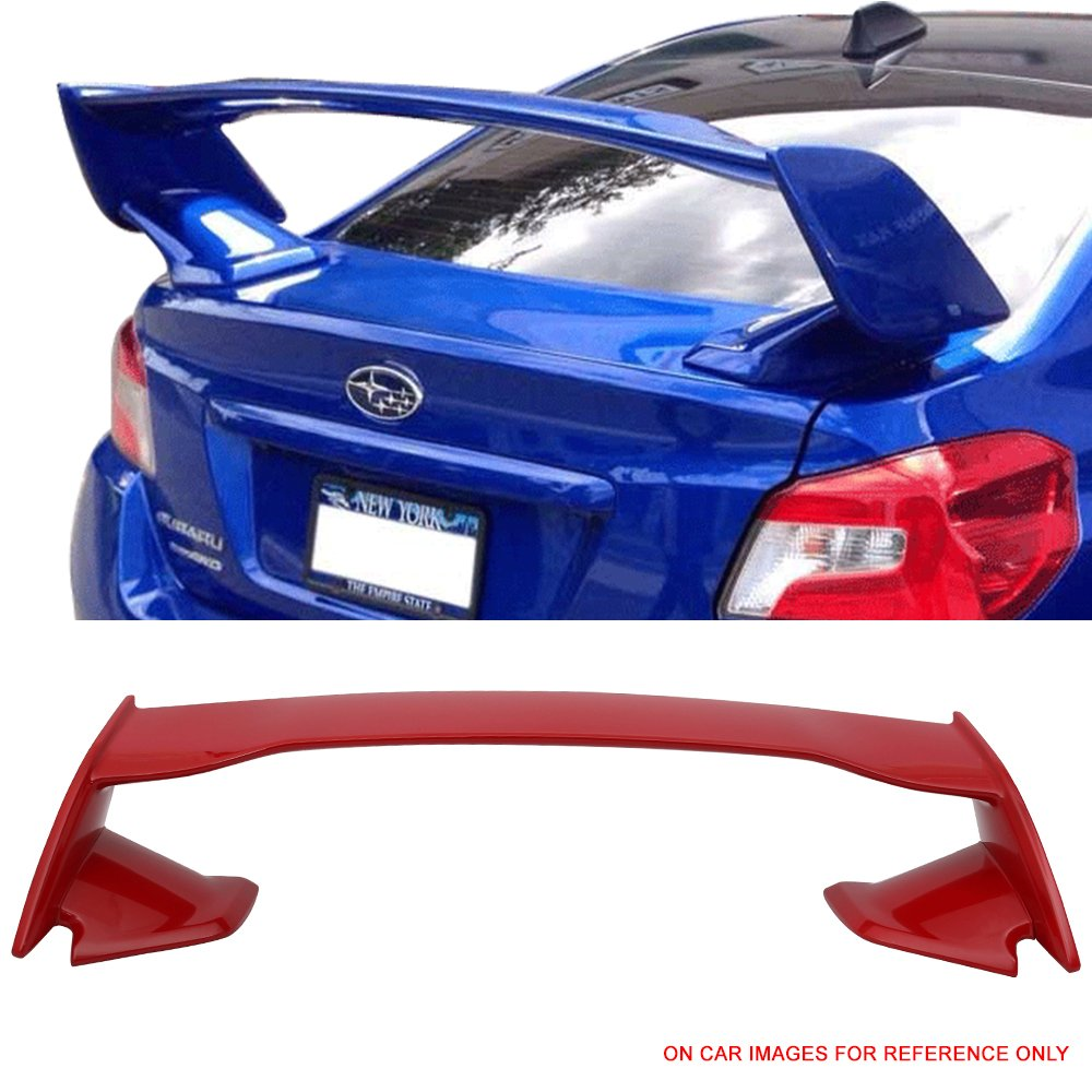 Pre-painted Trunk Spoiler Fits 2015-2018 Subaru WRX STI | STI Style ABS Painted #M7Y Pure Red Trunk Boot Lip Spoiler Wing Deck Lid Other Color Available By IKON MOTORSPORTS | 2016 2017