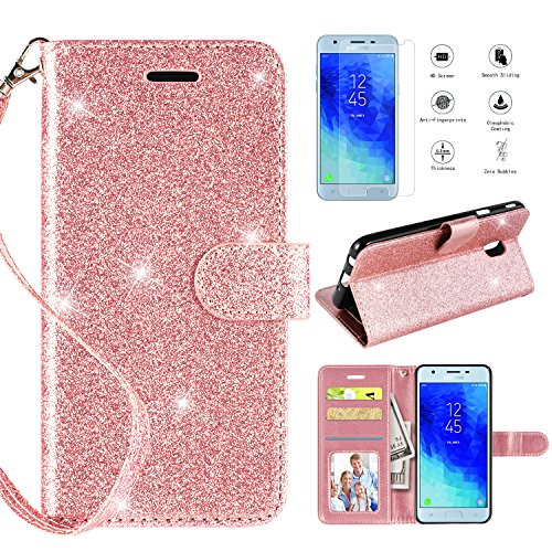Samsung Galaxy J3 2018 Case,J3 Star/J3V J3 V 3rd Gen/J3 Orbit/J3 TOP/J3 Express Prime 3/Amp Prime 3/Sol 3 Wallet Case w Screen Protector,Kickstand Card Slot Leather Case for Galaxy J3 Achieve,Rosegold