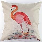 Cotton Linen Decorative Throw Pillow Case Cushion Cover Watercolor Bird Flamingo Square 18''