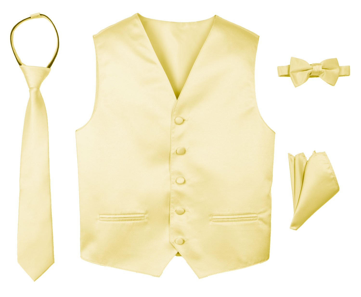 Spring Notion Boys' 4-Piece Satin Tuxedo Vest Set 14 Yellow