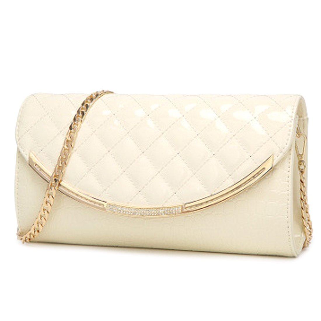 Women Fashion Leather Clutch Bag Evening Handbag Crossbody Purse (Off white)