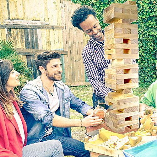 WYZworks 60-pc Giant Toppling Wood Block Tower Building Yard Family Outdoor Game by WYZworks