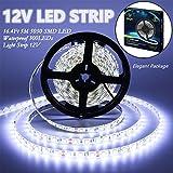 IEKOV Led Strip Lights, trade; 5050 SMD 300LEDs Flash Strip Light Waterproof Flexible Xmas Decorative Lighting Strips, LED Tape, 5M 16.4Ft DC12V (Cool White)