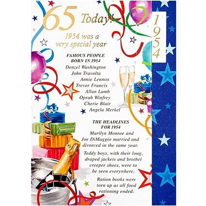 Tarjeta de felicitación de cumpleaños para hombre, 65 años ...