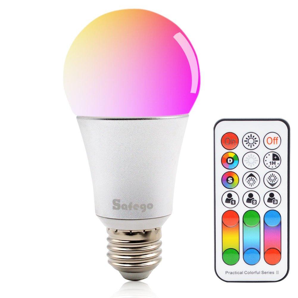 E26 RGBW LED Bombilla Cambio de Color Regulable Con Mando a Distancia 120 M/últiples Colores Iluminaci/ón Regulable L/ámpara 85-265V Para Casa Fiesta Hotel