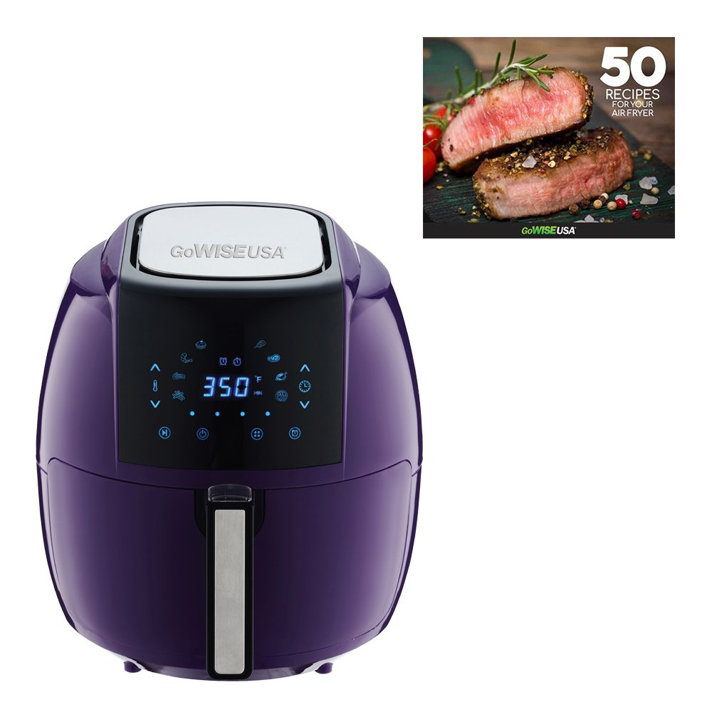 GoWISE USA 1500-Watts 3.7-Quarts 8-in-1 Digital Touchscreen Air Fryer 50 Recipes for your Air Fryer Cookbook Plum