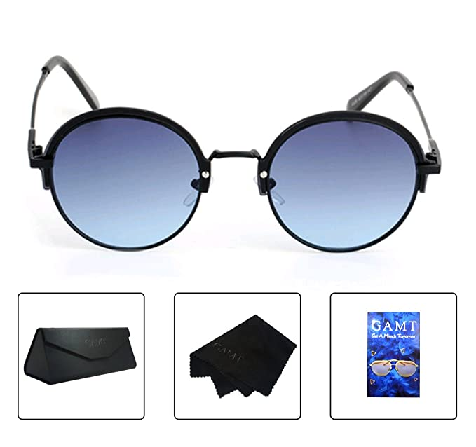 4d138f361c1 GAMT Round Sunglasses for Women Metal Frame Semi Rimless Glasses UV  Protection Shades blue