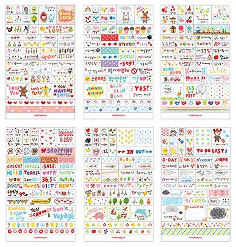 Taloyer Cute 6 Sheets DIY Word Expression Diary Album Sticker Calendar Card Scrapbooking