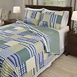 navy and green quilt - 3 Piece Full/Queen, Vintage Rustic Style Classic Plaid Checks Pattern Quilt Set, Contemporary Gorgeous Stripe Design, Vibrant Checkered Themed, Antique Printed Bedding, Adorable Navy, Yellow Color
