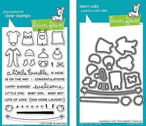 Lawn Fawn Little Bundle Clear Stamp and Die Set - Includes One Each of LF1127 Stamp & LF1128 Die - Bundle Of (Baby Girl Clear Stamps)