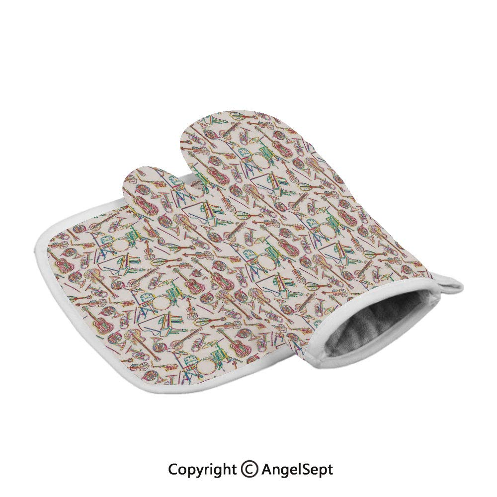 Colorful Stylized of Modern Music Patterns Collection Punk Pop Violin Decor, Oven Gloves,BBQ Gloves Polyster,Multicolor,with Insulated Square Mat Combination