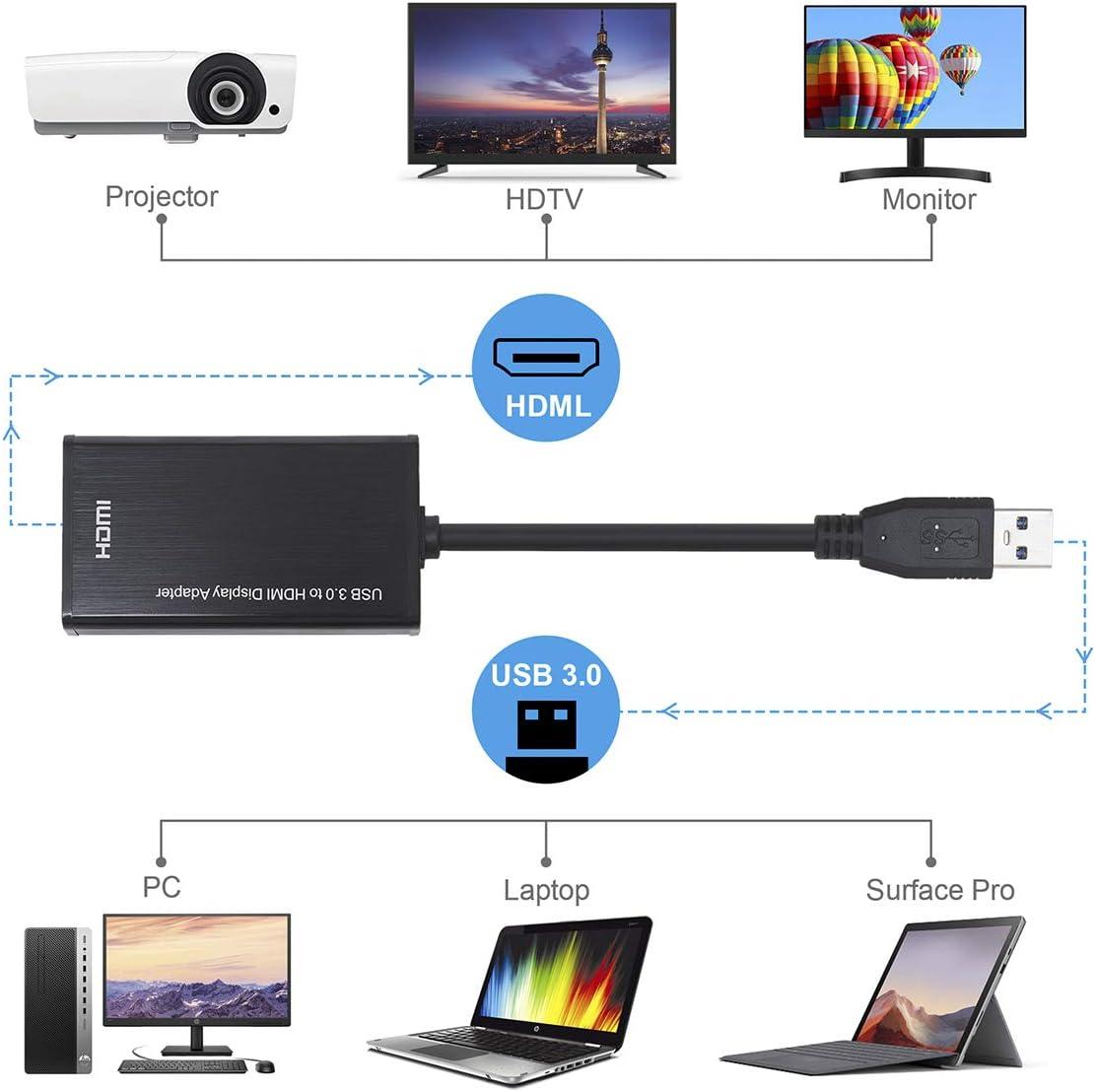 USB 3.0 vers HDMI pour MacBook Pro 1080P HD Video Audio Multi Monitor Adaptateur Compatible avec MAC OS Adaptateur USB vers HDMI Windows XP 7//8//8.1//10