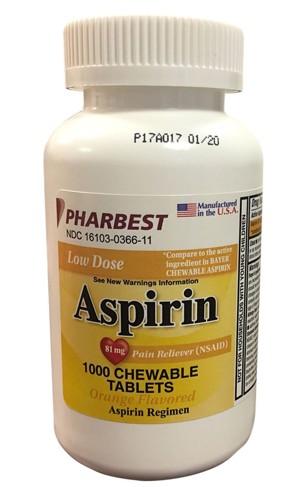 Pharbest Aspirin 81mg Chewable Orange Tablets 1000 Count Per Bottle