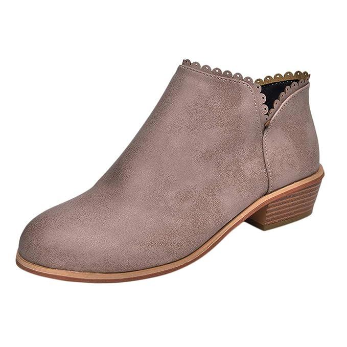 ZODOF Mujer Punta Redonda Classic Botines Zapatos Casuales señoras otoño Moda Botines de Cuero sólido Martin