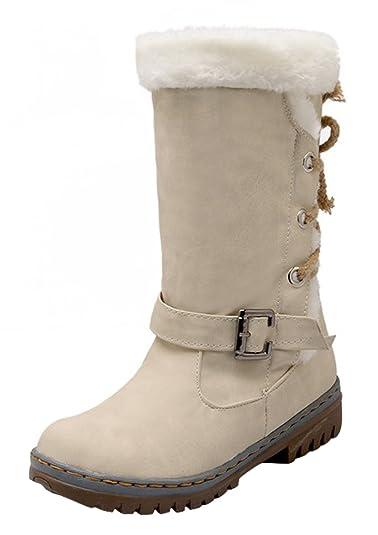 86000328fce2c La Vogue Botte Hiver Femme Boucle à Lacet Boots PU Cuir Fourrure Talon Chaussure  Chaud  Amazon.fr  Chaussures et Sacs