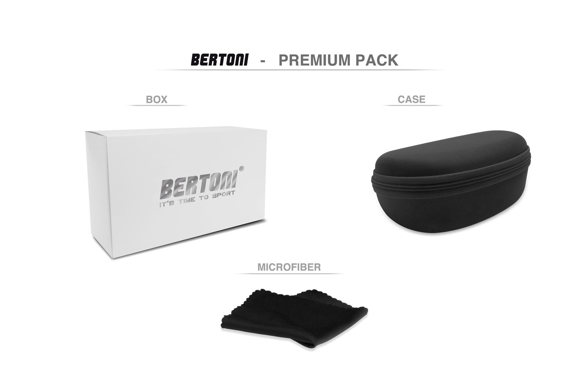 Bertoni Sports Photochromic Sunglasses for Cycling Running Ski Golf and Outdoor Activities F310A Italy Dark Grey Sport Glasses