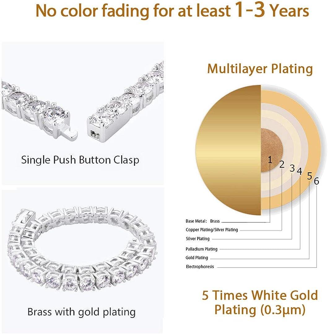 14k Gold//White Gold Plated 5A Cubic Zirconia CZ Stones Iced Out Hip Hop Bracelets for Women and Men KRKC/&CO 5mm Tennis Bracelet for Men