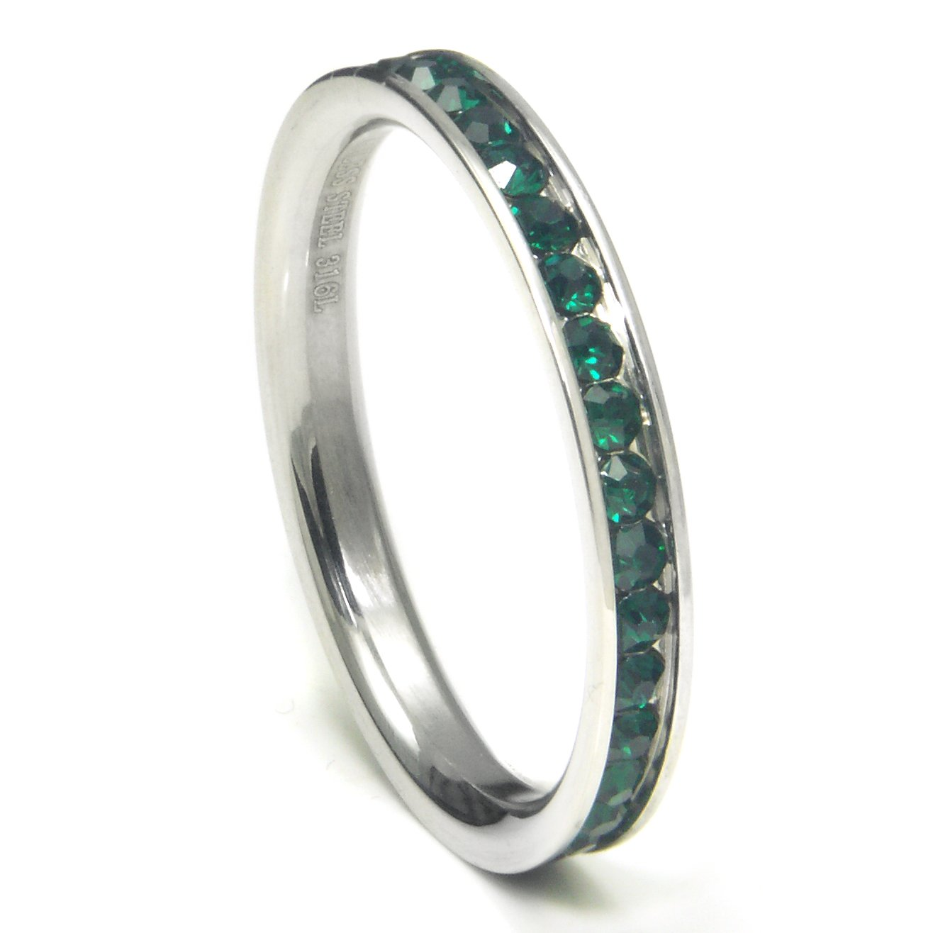 316L Stainless Steel Deep Green Cubic Zirconia CZ Eternity Wedding 3MM Band Ring Sz 8