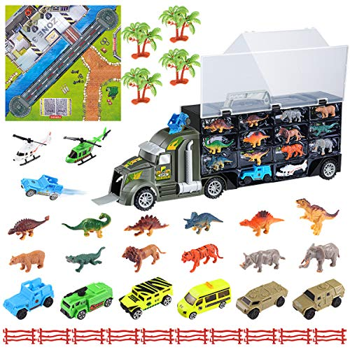 iBaseToy 36PCS Dinosaur Transport Car Carrier Truck Toy Set, Includes 6 Dinosaurs, 6 Wild Animals, 6 Off-Road Cars, 2 Helicopters, 4 Trees, 10 Fences and 1 Map, Educational Gift for ()