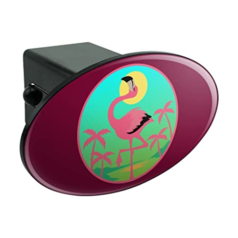 Graphics and More Flamingo Palm Trees Tropical Vacation Oval Tow Hitch Cover Trailer Plug Insert 2